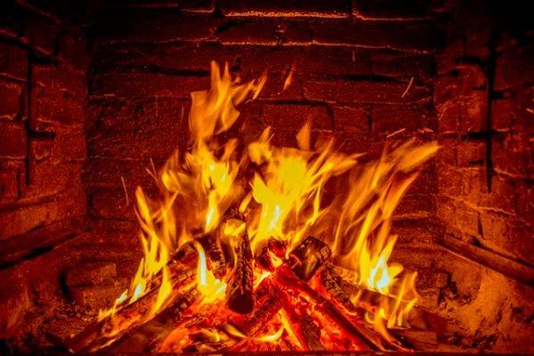 камин, огонь