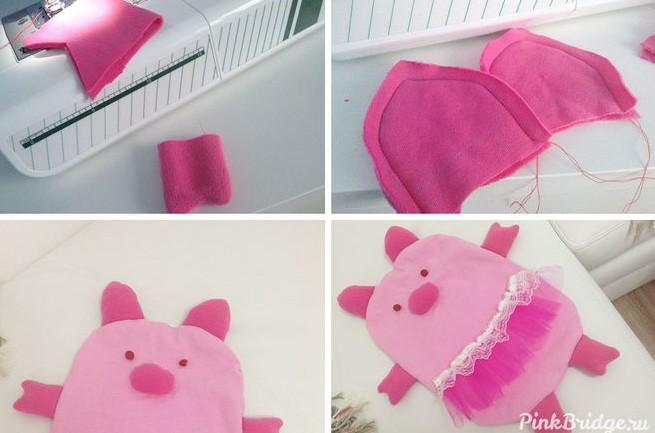 Подушка в виде свиньи к Новому году