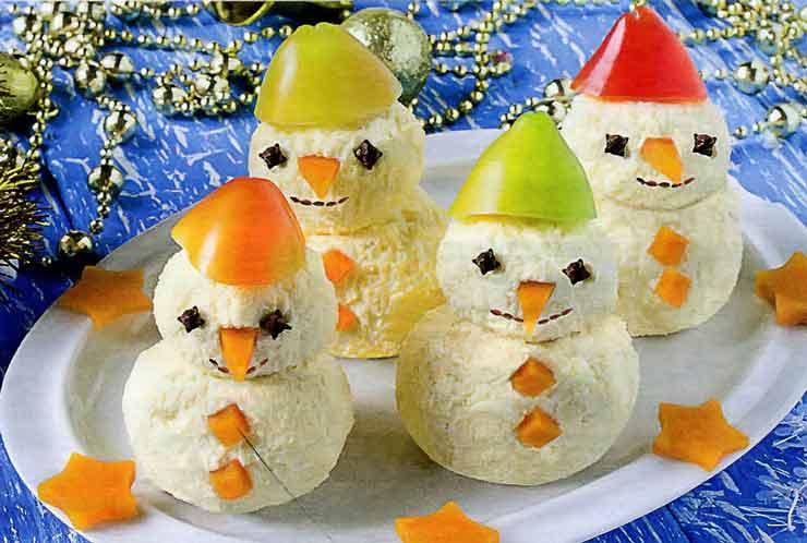Закуска на Новогодний стол Сырные снеговички