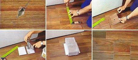 Как заделать дырки в линолеуме