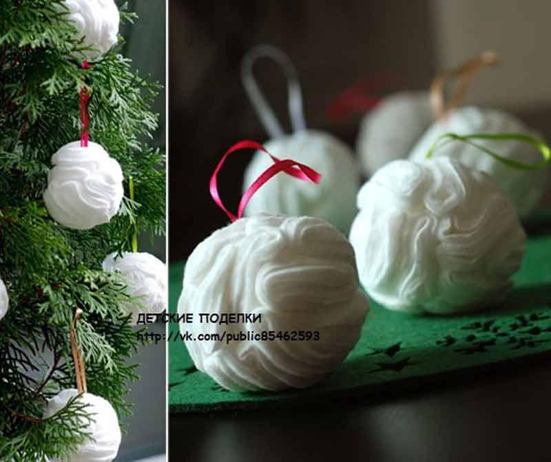 Ёлочные новогодние шары из ватных дисков, мастер класс
